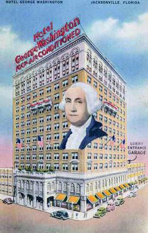 Hotel George Washington (Jacksonville) - A 1947 postcard advertising the Hotel George Washington.