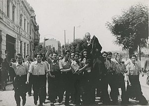 Macedonians (Bulgarians) - Bulgarian students greeting the IMRO  revolutionary Kosta Tsipushev by his return, after the Bulgarian annexation of Vardar Macedonia in 1941.