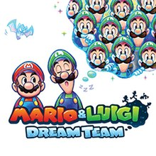 Stylized illustration of Mario and Luigi against a white background. Luigi is asleep, and a thought bubble shows him dreaming of multiple copies of himself.