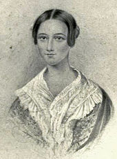 black and white reproduction of watercolour drawing of young woman, facing the spectator, hair parted at centre, shawl over shoulders