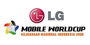 "The logo of the Indonesian world cup, which reads ""LG Mobile Worldcup Kejuaraan Nasional Indonesia 2009"""