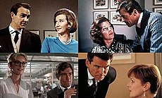 Sean Connery and Roger Moore alongside Lois Maxwell, Pierce Brosnan with Samantha Bond and Timothy Dalton with Caroline Bliss; an office filled with paintings is behind Connery, Moore and Brosnan, while a lab is behind Dalton