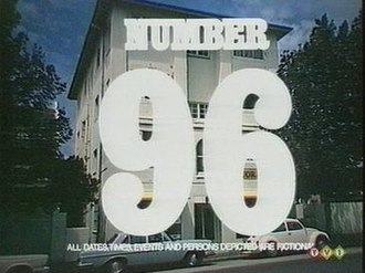 Number 96 (TV series) - Title card from a 1975 episode of Number 96. (Where the cliff-hanger resolution that followed this shot at the start of the episode took place in one of the building's flats, the shot of the building would zoom in on that flat as the title appeared on screen. Where the resolution scene occurred in an exterior location there was no zoom and the entire building would be shown, as seen here).