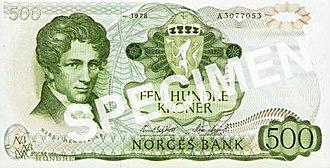 Niels Henrik Abel - Image: NOK 500 V recto