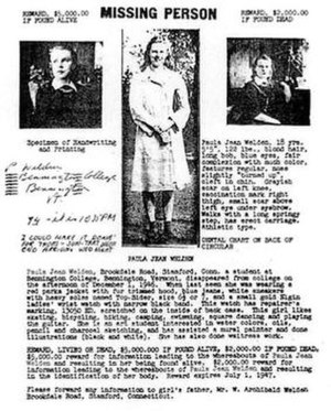Paula Jean Welden - Original missing person flyer for Welden, dated 1946.
