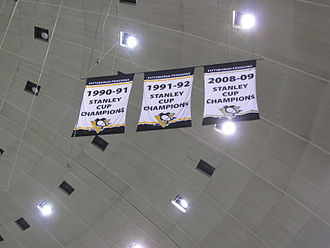 Civic Arena (Pittsburgh) - The Penguins 3 Stanley Cup Championship Banners displayed at the Arena in 2009–10