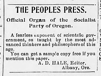 Socialist Party of Oregon - Advertisement for The People's Press, July 1901.