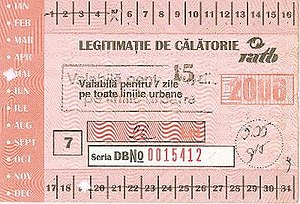 Regia Autonomă de Transport București - Historical RATB pass from 2006. The paper pass has a combination of punches, crossouts, stamping, and writing to indicate the exact period for which it is valid. A new contactless card system has been introduced since