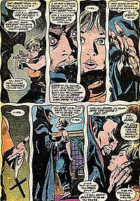 Dracula attempting to vampirize Rachel van Helsing in Tomb of Dracula #40