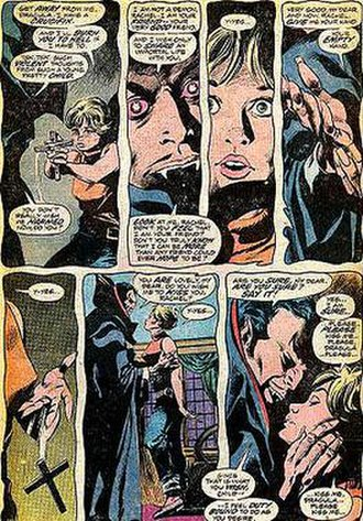 Dracula (Marvel Comics) - Dracula attempting to vampirize Rachel van Helsing, from The Tomb of Dracula No. 40 (Jan. 1986). Art by Gene Colan and Tom Palmer.