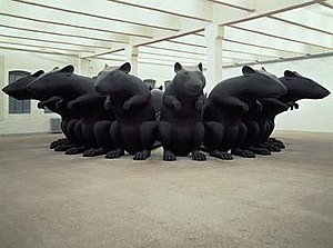 Katharina Fritsch -  Katharina Fritsch, Rat King, 1993, polyester and paint, 110 x 512 inches.