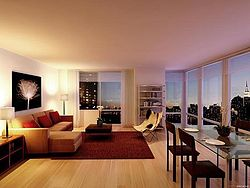 A living room in Avalon Riverview North, a New York city luxury apartment building.