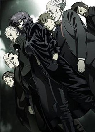 Ghost in the Shell: Stand Alone Complex - The members of Section 9. From bottom left to top right: Paz, Borma, Saito, Batou, Motoko, Togusa, Aramaki, and Ishikawa
