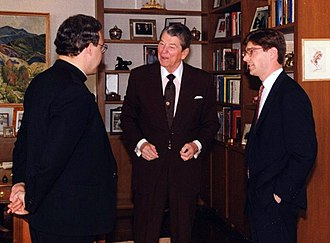 Acton Institute - Acton founders Robert Sirico (left) and Kris Mauren (right) with Ronald Reagan in his library