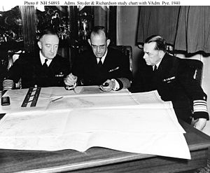 Charles P. Snyder (admiral) - Snyder as Commander Battle Force (left), with Admiral James O. Richardson (center) and Vice Admiral William S. Pye (right) in 1940.