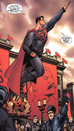 Alternative versions of Superman - The Red Son Superman. Art by Dave Johnson.
