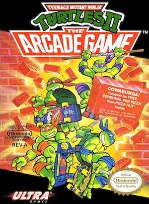 Teenage Mutant Ninja Turtles (arcade game) - Cover artwork of the NES version, which was retitled Teenage Mutant Ninja Turtles II: The Arcade Game.