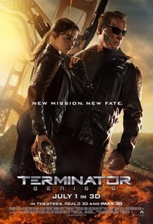 Film poster of Arnold Schwarzenegger and Emilia Clarke, both dressed in black leather as their characters T-800 Terminator and Sarah Connor, respectively. Its background is San Francisco Bay Area.