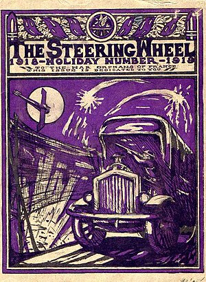 "Motor Transport Corps - Cover page for MTC's ""The Steering Wheel"" newsletter from December 1918"