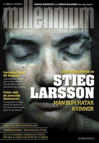 Millennium (novel series) - Swedish cover of the first novel in the series, The Girl with the Dragon Tattoo