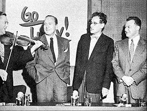 This Is Show Business - Panelist Sam Levenson, Jack Benny, panelist George S. Kaufman and host Clifton Fadiman in 1953