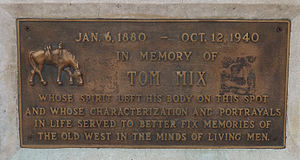 Tom Mix - Mix memorial plaque