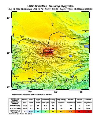 1992 Suusamyr earthquake - Shakemap in Kyrgyzstan