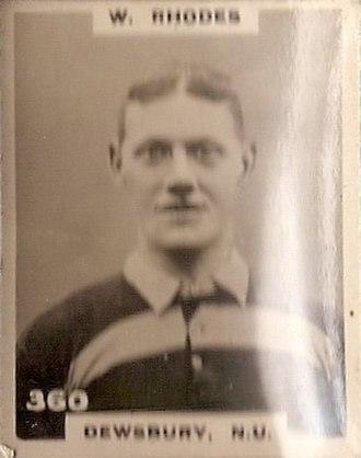 Billy Rhodes (rugby league) - Godfrey Phillips Cigarette card featuring William Rhodes