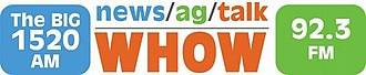 WHOW - Image: WHOW newsagtalk 1520 92.3 logo