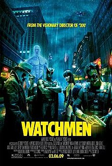 "A rainy city. Six people stand there, all but one - a masked man in hat and trench coat - staring at the viewer: a muscular and glowing blue man, a blonde man in a spandex armor, a man in an armor with a cape and wearing a helmet resembling an owl, a woman in a yellow and black latex suit, and a mustached man in a leather vest who smokes a cigar and holds a gun. Text at the top of the image includes ""From the visionary director of 300"". Text at the bottom of the poster reveals the title, production credits, and release date."