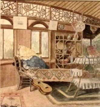 Isobel Osbourne - Allen Herbert's House, 1896 watercolor painting by Isobel Osbourne, Honolulu Museum of Art
