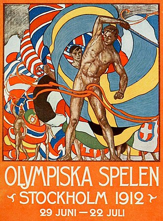 1912 Summer Olympics - Poster for the 1912 Summer Olympics, designed by Olle Hjortzberg