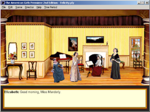 The American Girls Premiere - Screenshot featuring a typical theatrical production from the game. In this scene, the girls greet their teacher Miss Manderly as they start their embroidery lesson.