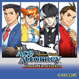 Phoenix Wright: Ace Attorney − Dual Destinies - English cover art, featuring (from left to right) Phoenix, Athena, Blackquill, and Apollo