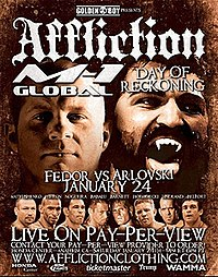 A poster or logo for Affliction: Day of Reckoning.