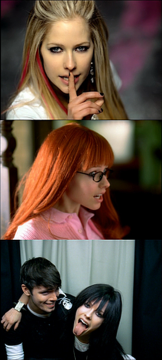 "Girlfriend (Avril Lavigne song) - Lavigne as three of her alter-egos in the video for ""Girlfriend""."