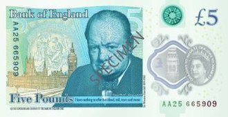 Pound sterling - Reverse of a £5 Series G Bank of England note