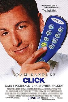 Adam Sandler holding a blue remote control. The film's tagline appears above him, with its title, release date and production logos below.