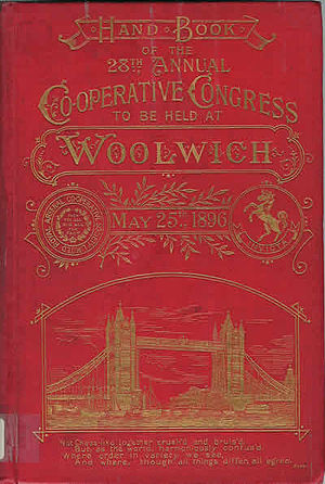 Co-operative Congress - Cover of the handbook of the 28th Annual Co-operative Congress at Woolwich 1896