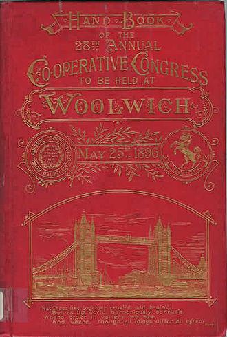 Co-operative Congress - Cover of the handbook of the 28th Annual Co-operative Congress at Woolwich 1896