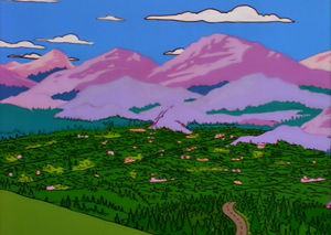You Only Move Twice - For the town of Cypress Creek, the animators had to design entirely new background paintings such as this one.