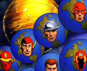 Multiverse (DC Comics) - A depiction of several alternate Earths within the original DC Multiverse before the events of Crisis on Infinite Earths and the variations of the Flash inhabiting each Earth. Art by Dan Jurgens and Art Thibert.