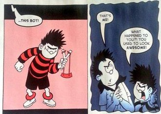 """Dennis the Menace and Gnasher - In the second panel, Dennis snaps at his father (the Dennis from the 1980s) that he """"used to be awesome""""."""