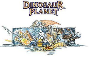 Star Fox Adventures - Dinosaur Planet artwork showing various characters, including Krystal's original design