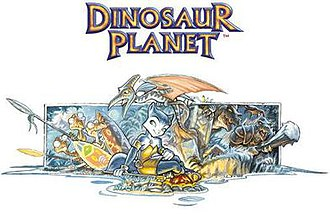 Star Fox Adventures - Dinosaur Planet artwork showing various characters, including Krystal's original design
