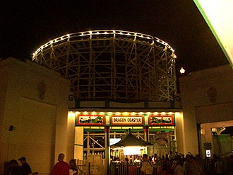 Dragon Coaster (Playland) - The Dragon Coaster's boarding station at night