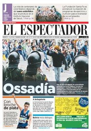 El Espectador - Image: El Espectador frontpage 20080918