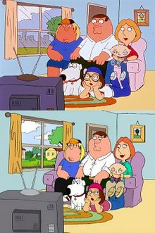 A still frame of a cartoon family gathered together in the couch and the floor watching the television.