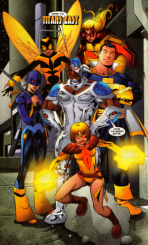 Titans East - Batwoman, Bumblebee, Captain Marvel, Cyborg 2.0, Ravager, and Terra from the future Titans East.
