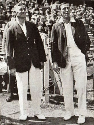 Jack White (cricketer, born 1891) - Jack White (left) with Nummy Deane in 1929